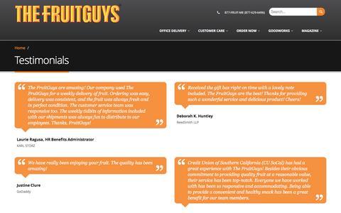 Screenshot of Testimonials Page fruitguys.com - Testimonials | The FruitGuys - captured April 20, 2017