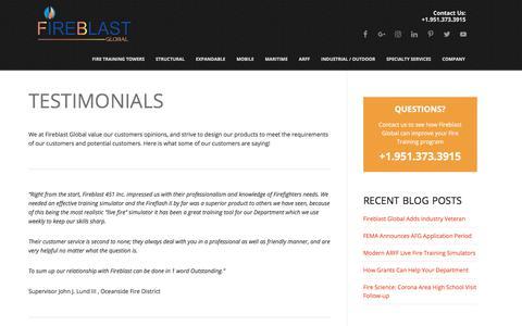 Screenshot of Testimonials Page fireblast.com - Testimonials - Fireblast Global - captured Oct. 13, 2017