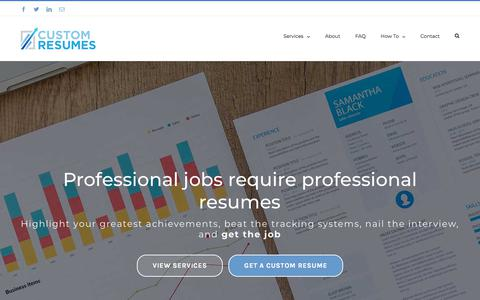 Screenshot of Home Page custom-resumes.com - Custom Resumes | Stand out with a professionally written custom resume - captured July 22, 2018