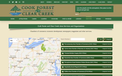 Screenshot of Services Page cookforest.org - Services – Cook Forest Pennsylvania | Cooksburg PA - captured June 19, 2016