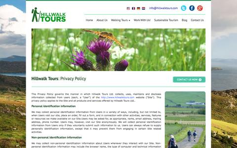 Screenshot of Privacy Page hillwalktours.com - Hillwalk Tours | Self Guided Walking Holidays | Privacy Policy - captured July 6, 2016