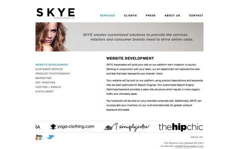 Screenshot of Services Page skyeassociatesllc.com - Services -          Website Development - captured Sept. 17, 2014
