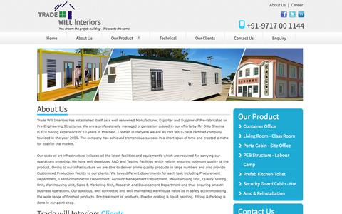 Screenshot of About Page Privacy Page tradewillinteriors.co.in - Trade Will Interiors, Manufacturer, Exporter and Supplier of Pre-fabricated or Pre-Engineering Structures - captured Oct. 22, 2014