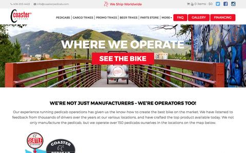 Screenshot of Locations Page coasterpedicab.com - Locations - Coaster Pedicab - captured May 19, 2017