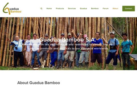 Screenshot of About Page guaduabamboo.com - About Guadua Bamboo — Guadua Bamboo - captured Feb. 19, 2016