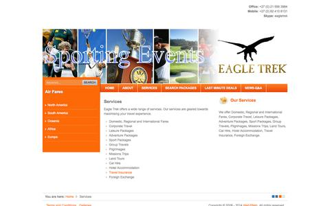 Screenshot of Services Page eagle-trek.com - Services - Eagle Trek - South Africa's flight, holiday centre and independant travel agency - captured Sept. 29, 2014