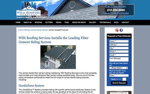 Screenshot of Products Page williroofing.com - Willi Roofing | James Hardie Siding Products | Austin, TX - captured Feb. 14, 2016