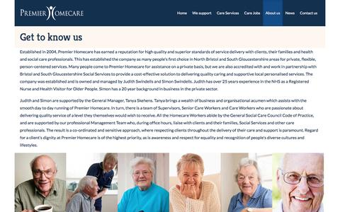 Screenshot of About Page premier-homecare.com - Get to know us   Premier Homecare - captured May 20, 2017