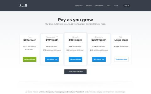 Screenshot of Pricing Page hull.io - Hull | Pricing | The engagement layer for your app - captured Sept. 16, 2014