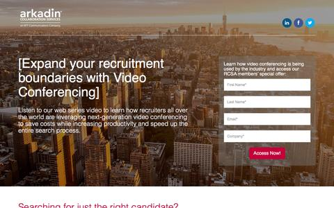 Screenshot of Landing Page arkadin.com - Expand your recruitment boundaries with Video Conferencing - captured Aug. 29, 2016