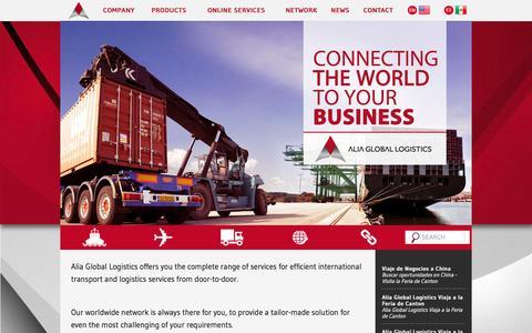 Screenshot of Home Page alialogistics.com - Alia Global Logistics | Alia Global Logistics - captured Sept. 10, 2015