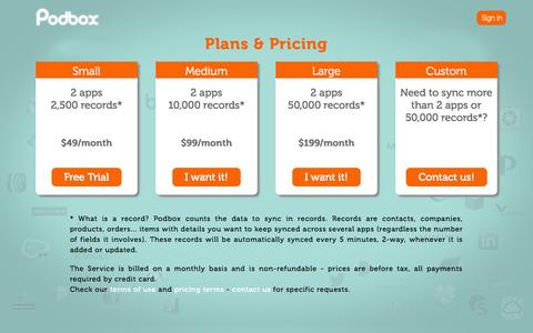 Screenshot of Pricing Page podbox.com - Podbox - the data cleaning tool - captured Sept. 19, 2014