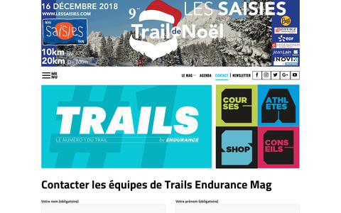 Screenshot of Contact Page trails-endurance.com - Contacter Trails Endurance Mag, le n°1 de l'actu sur le trail running - captured Nov. 16, 2018