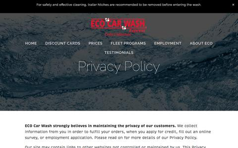 Screenshot of Privacy Page ecocarwash.com - Privacy Policy — Eco Car Wash - captured May 11, 2017