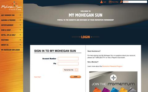 Screenshot of Login Page mohegansun.com - Login | Mohegan Sun - captured Aug. 18, 2016