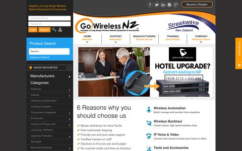 Screenshot of Home Page gowifi.co.nz - Go Wireless NZ - Suppliers of Long Range Wireless Equipment - captured Sept. 29, 2018