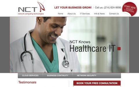 Screenshot of Home Page nctnet.net - Dallas IT Support | (214) 624-9696 | Computer Services - captured Jan. 24, 2015