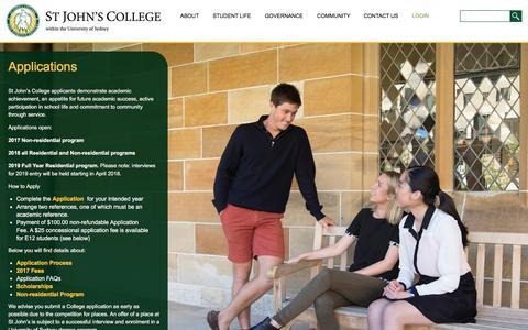 Screenshot of FAQ Page stjohnscollege.edu.au - Applications   St John's College - captured Nov. 8, 2017