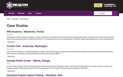 Screenshot of Case Studies Page beaconproducts.com - Beacon Products : Case Studies - captured Sept. 30, 2014