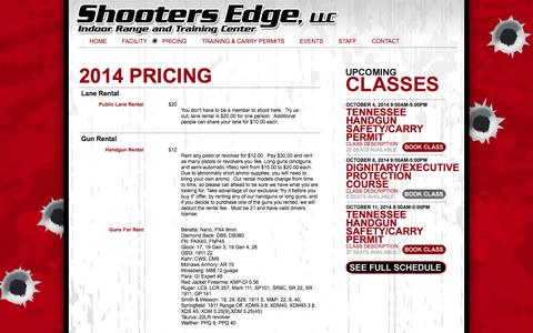 Screenshot of Pricing Page myshootersedge.com - Shooters Edge, LLC Indoor Range and Training Center | Pricing - captured Oct. 4, 2014