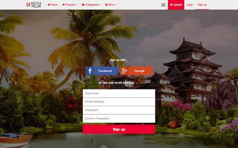 Screenshot of Signup Page mediapillar.com - Media Pillar - Sharing Fun and Joy! - captured Oct. 27, 2014