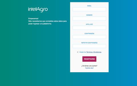 Screenshot of Signup Page inteliagro.com - Inteliagro. Plataforma Productor Agrícola. - captured Oct. 16, 2017