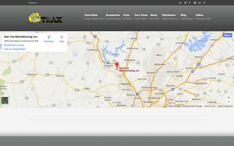 Screenshot of Maps & Directions Page sawtrax.com - Directions Saw Trax Mfg, Inc - captured Oct. 4, 2014