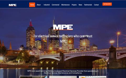 Screenshot of Home Page mpeelec.com - MPE Electrical | Home - captured Oct. 2, 2017
