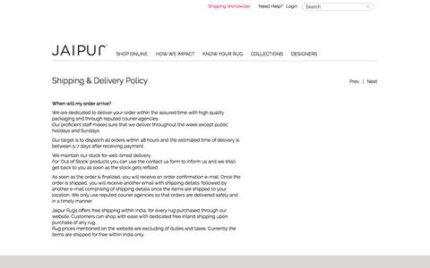 JAIPUR Rugs Shipping Policies
