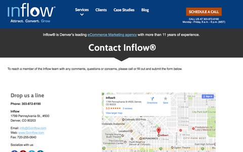 Screenshot of Contact Page goinflow.com - Contact Inflow®, eCommerce Inbound Marketing Experts - captured June 18, 2017