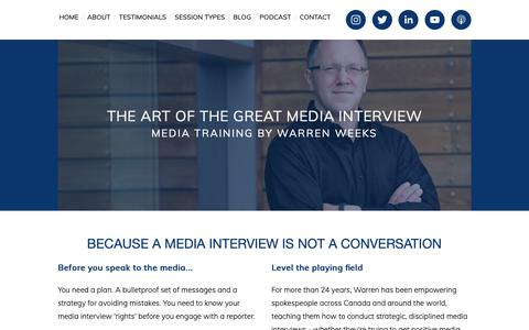 Screenshot of Home Page mediatrainingtoronto.com - The Art of the Great Media Interview - captured Oct. 23, 2018