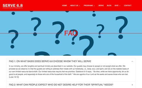 Screenshot of FAQ Page serve68.org - FAQ – Serve68 - captured Nov. 12, 2017