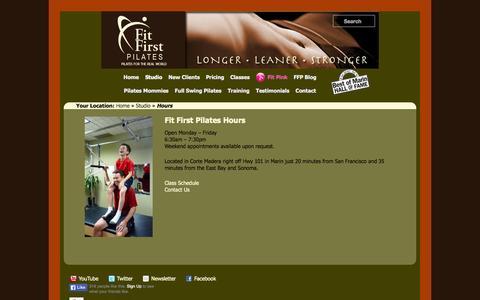 Screenshot of Hours Page fitfirstpilates.com - Hours | Fit First Pilates the oldest Pilates studio in Marin - captured Sept. 30, 2014