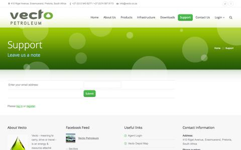 Screenshot of Support Page vecto.co.za - Vecto |   Support - captured Oct. 7, 2014