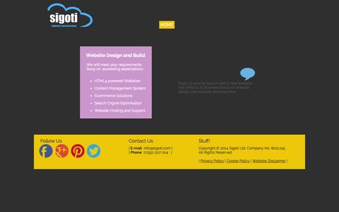 Screenshot of Home Page sigoti.com - Home   sigoti.com   Website Design and Website Development in Norfolk - captured Oct. 6, 2014