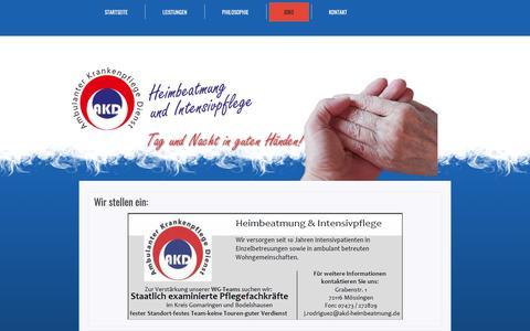 Screenshot of Jobs Page akd-heimbeatmung.de - Wir stellen ein: - AKDAKD - captured Dec. 2, 2018