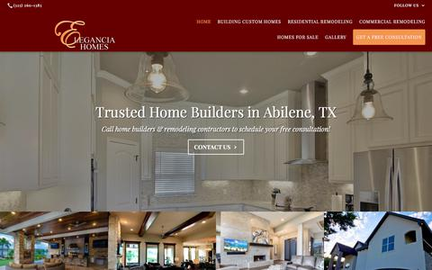 Screenshot of Home Page eleganciahomes.com - Home Builders, Remodeling Contractors: Abilene, TX - captured July 17, 2018