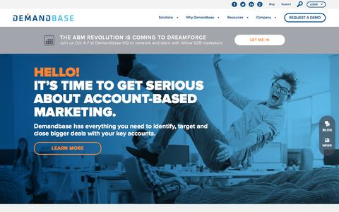 Screenshot of Home Page demandbase.com - Demandbase: Account-Based Marketing - captured Oct. 1, 2016