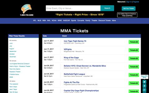 Buy MMA tickets at SelectATicket.com
