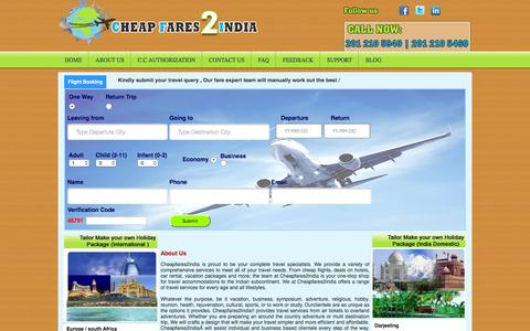 Screenshot of About Page cheapfares2india.com - About Us - captured Dec. 8, 2015