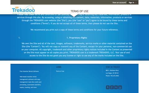 Screenshot of Terms Page trekadoo.com - Trekadoo Vacation Rental Software :: Terms of Use - captured Oct. 7, 2014