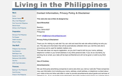 Screenshot of Contact Page Terms Page living-in-the-philippines.com - Contact information for Living in the Philippiens - captured Feb. 21, 2016
