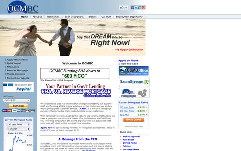Screenshot of Home Page ocmbancorp.com - Welcome to OCMBC | Mortage & Refinance - captured Sept. 23, 2014