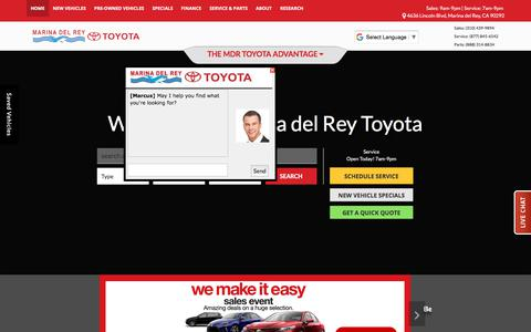Screenshot of Home Page marinadelreytoyota.com - Marina del Rey Toyota Dealership | Toyota Dealer Serving Los Angeles | Venice - captured Jan. 18, 2018