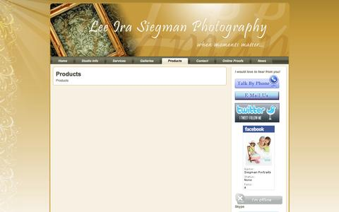 Screenshot of Products Page siegmanportraits.com - Products - captured Oct. 2, 2014