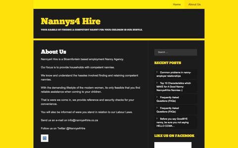 Screenshot of About Page wordpress.com - About Us | Nannys4 Hire - captured Oct. 27, 2014