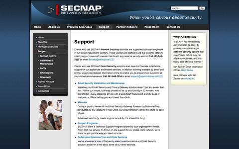 Screenshot of Support Page secnap.com - Support - captured Oct. 3, 2014