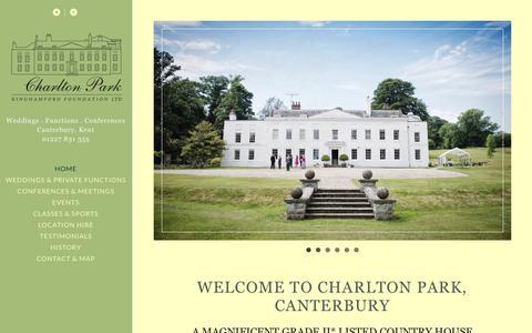 Screenshot of Home Page charlton-park.org - CHARLTON PARK | WEDDING VENUE | CONFERENCE VENUE | THEATRE | MUSIC | KENT | CANTERBURY - captured Sept. 27, 2018