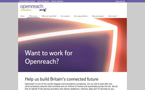 Screenshot of Jobs Page openreach.co.uk - Want to work for Openreach - captured Sept. 18, 2016
