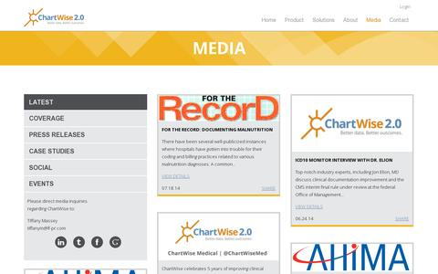 Screenshot of Press Page chartwisemed.com - ChartWise 2.0 - Press | ChartWise Medical Systems - captured July 19, 2014